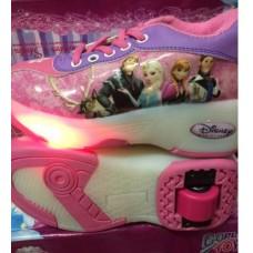 รองเท้าผ้าใบมีล้อ 1 ล้อ รองเท้ามีล้อ มีไฟ เก็บล้อได้ ลาย frozen